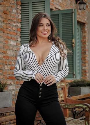 Body feminino camisa listrado manga longa lançamento