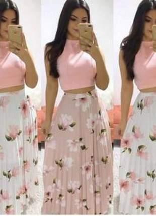 Saia longa plissada estampas florida cintura alta rodada moda