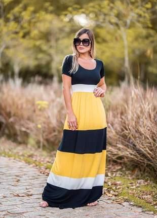 Vestido náutico longo .