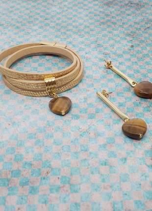 Kit de pulseira e brinco com pedra natural de olho de tigre
