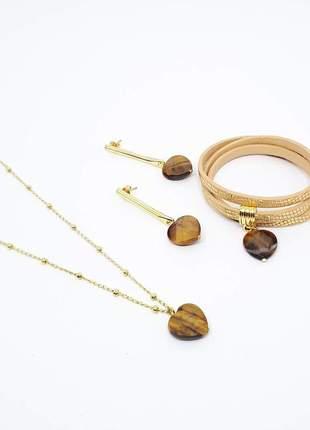 Kit de colar, pulseira e brinco com pedra natural de olho de tigre