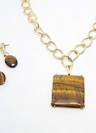Kit colar e brincos com pedra natural de olho de tigre
