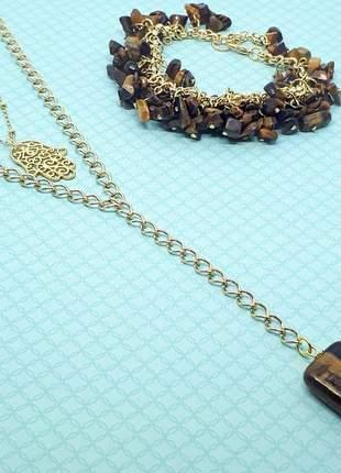 Kit de colares e pulseira de olho de tigre