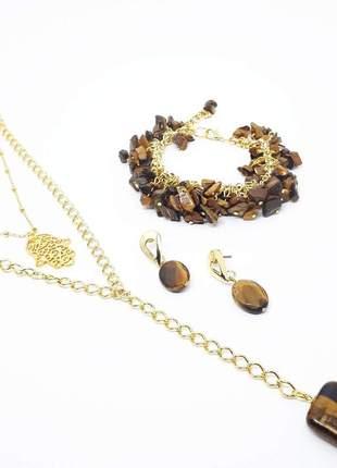 Um lindo conjunto de bijuterias com pedra natural de olho de tigre