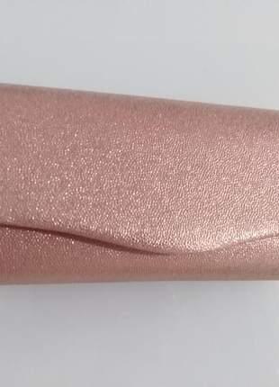 Carteira de festa nude/bronze com alça corrente delicada