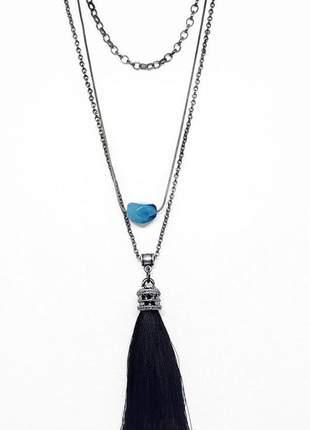 Mix de colares estilo folk com pedra semi preciosa de jade azul