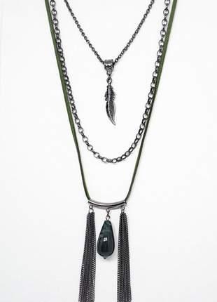 Mix de colares boho chic com pedra semi preciosa de jade floresta