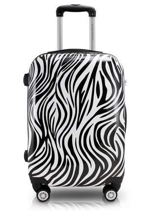 Mala de viagem com rodinha e estampa de zebra