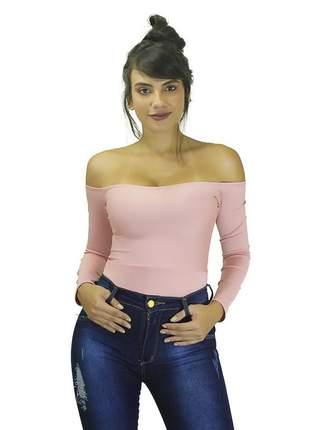 Body feminino liso ombro a ombro manga longa