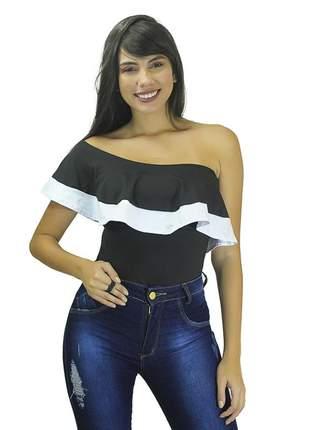 Body feminino liso ombro a ombro detalhe branco babado