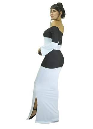 Vestido longo fenda ombro a ombro manga longa 2 cores