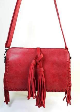 Bolsa bag vanessa vermelha - bolsa feminina tiracolo, casual, em couro ecológico