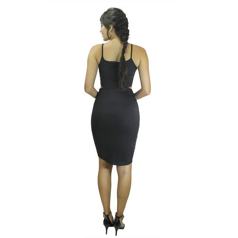 Dellevue / Vestido midi tubinho festa detalhe cintura e alcinha