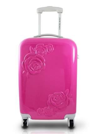 Mala de viagem com rodinha com flor em relevo rosa pink