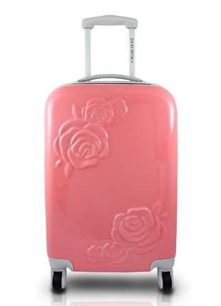 Mala de viagem com rodinha com flor em relevo rosa
