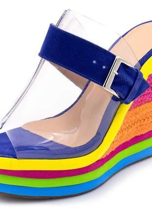 Sandalia anabela tamanco transparente salto corda colorido