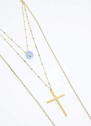 Kit de colares dourados com cruz e pedra natural de jade azul