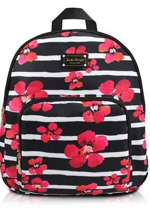 Mochila feminina escolar com estampa floral preta