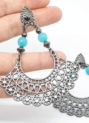 Um incrível brinco prata velha com cristal de jade azul #maxibrincos lindos