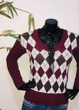 Blusa trico xadrez