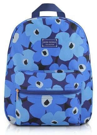 Mochila feminina escolar com estampa floral azul