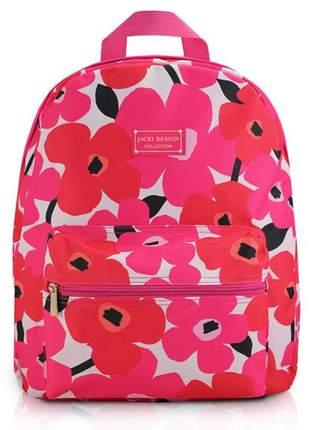 Mochila feminina escolar com estampa floral rosa pink