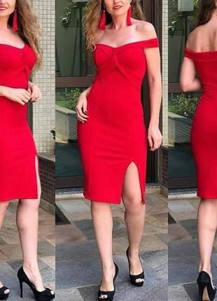 Vestido tubinho blogueira justo moda feminina ombro a omvro