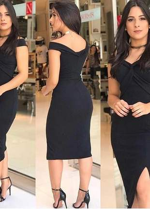 Vestido preto tubinho blogueira justo moda feminina festa convidadas