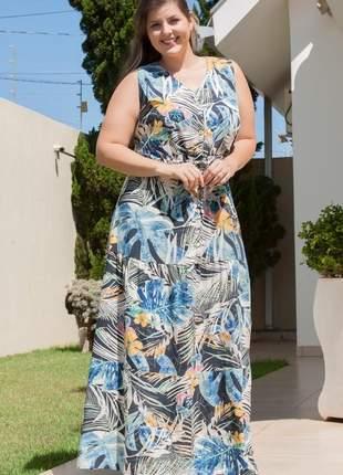 7838- vestido plus size longo em viscose