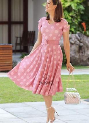 Vestido princesa godê rodado bolinhas rosa