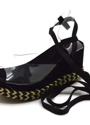 Sandália anabela salto medio transparente amarrar na perna preta