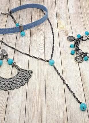 Kit brinco, pulseira e cordão de pedra natural de jade azul