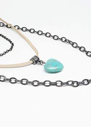 Mix de colares estilo hippie chic com pedra natural  de turquesa