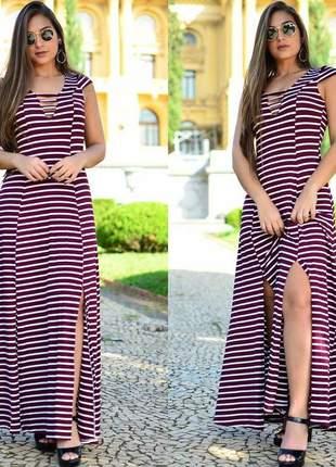 Vestido longo verão listrado