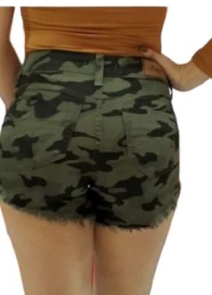 Shorts jeans camuflado curto shotinho feminino