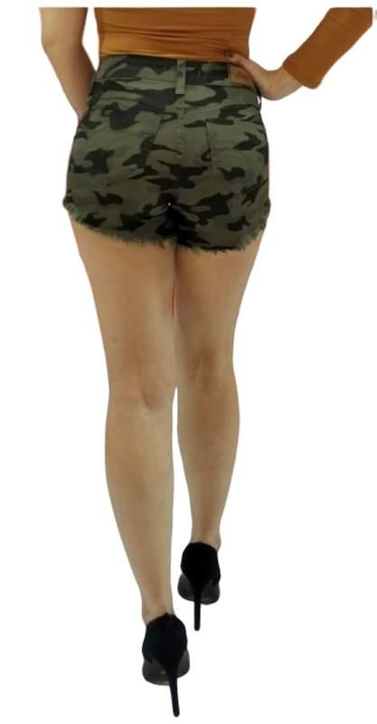 Destmoda / Shorts jeans camuflado curto shotinho feminino
