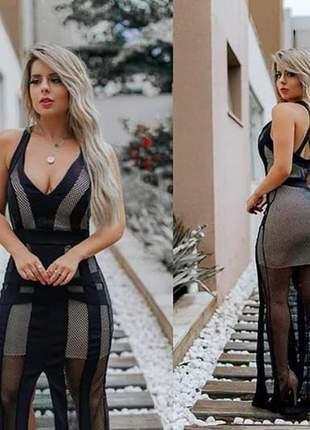 Vestido longo modelo arrastão preto de festa ref 684