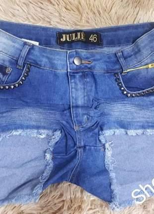 Short jeans julie cintura alta plus size promoção verão