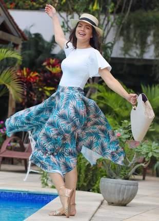 Conjunto saia estampada floral + blusinha primavera verão 2019