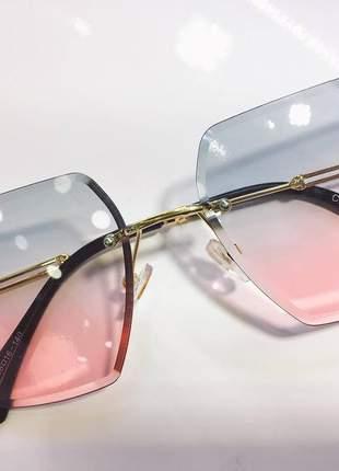 Óculos de sol feminino sem aro nova coleção degradê azul com rosa