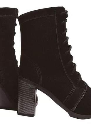 Bota coturno sapato feminino chiquiteira chiqui/40951 marrom = cor castor e preta