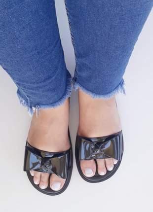 Sandália chinelo feminino rasteirinha rasteira preta laço top