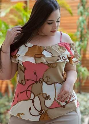 7842- blusa plus size em crepe babado duplo