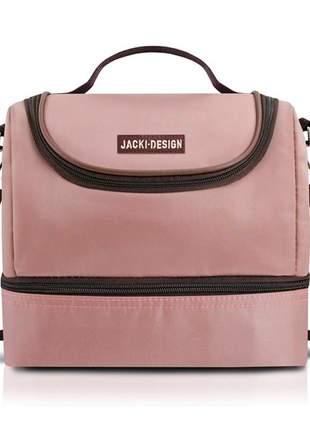 Bolsa térmica fitness com 2 compartimentos rosa