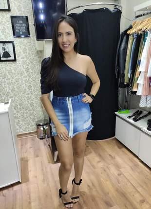 Saia jeans zíper