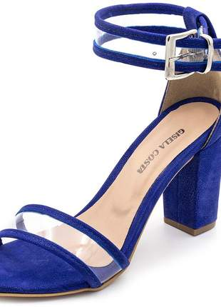Sandália feminina casual salto alto grosso em nobucado azul com transparência