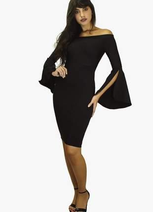 Vestido feminino tubinho manga longa flare
