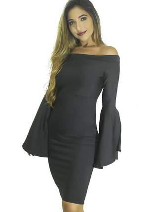 Vestido feminino tubinho ombro a ombro manga flare