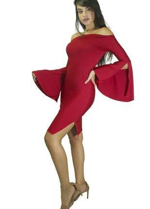 Vestido feminino tubinho ombro a ombro manga flare com fenda