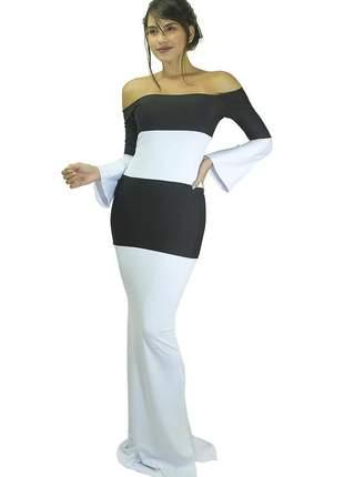 Vestido feminino longo ombro a ombro com manga longa e fenda